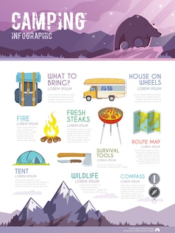 Colourful camping vector infographic.