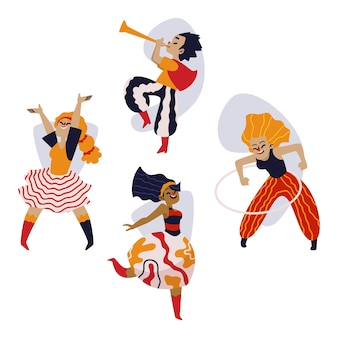 Colourful carnival dancers collection