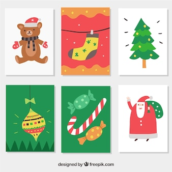 Colourful christmas postcards