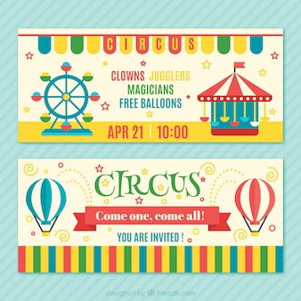 Colourful circus tickets pack