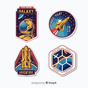 Красочная коллекция современных космических стикеров