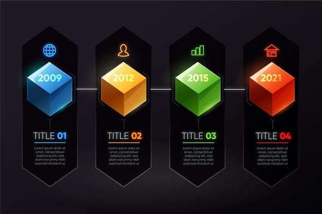 Colourful cubes timeline infographic