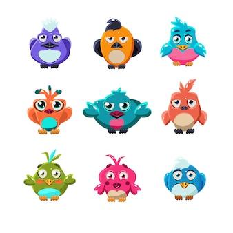 Colourful cute birds illustration set