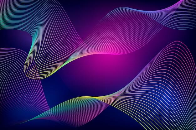 Colourful dark wavy background