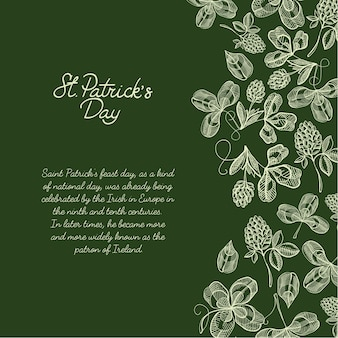 Colourful decorative design sketch greeting card hand drawn with lettering about st. patricks day on the right with hop twigs, clover and berries vector illustration