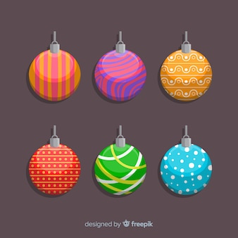 Colourful designs for flat christmas balls