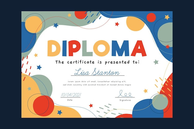 Colourful diploma template for kids
