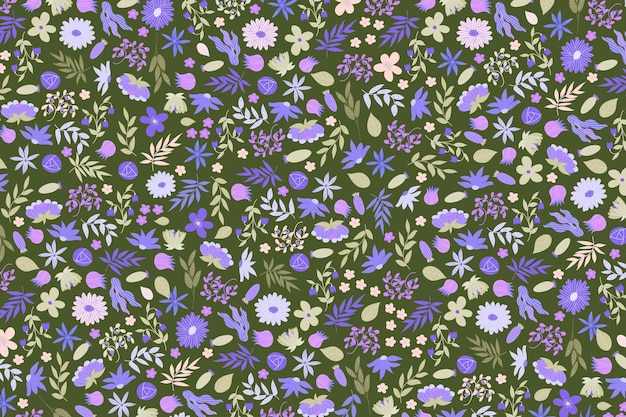 Colourful ditsy floral print wallpaper
