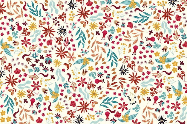 Colourful ditsy floral print on white background