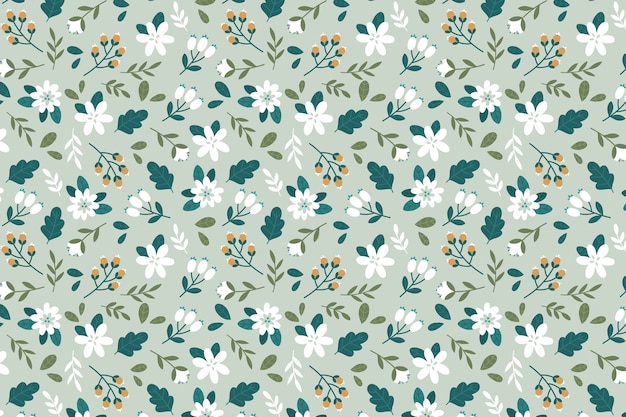 Colourful ditsy floral wallpaper