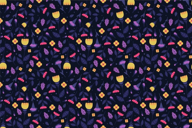 Colourful ditsy flowers print pattern