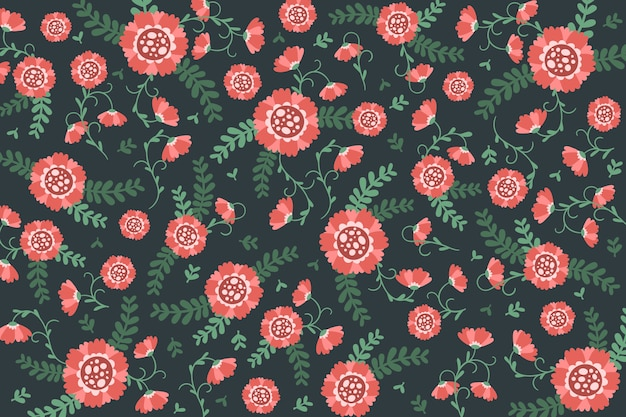 Colourful ditsy roses floral print background