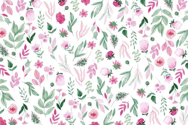 다채로운 그려진 된 꽃 배경