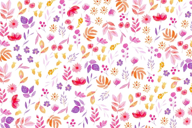 Colourful drawn floral wallpaper