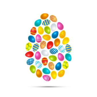 Colourful easter eggs in egg shape, isolated
