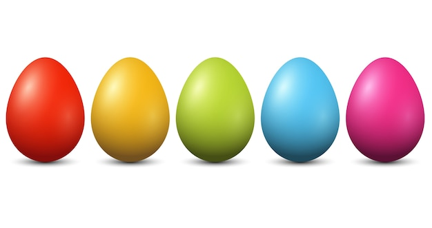 Colourful easter eggs on white background
