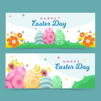 Colourful eggs in daylight happy easter banner template