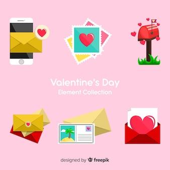 バレンタインの日にカラフルな要素のコレクション