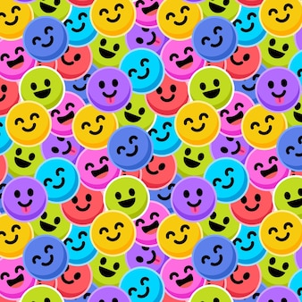 Colourful emoticon seamless pattern template