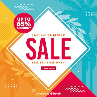 Colourful end of summer sales background