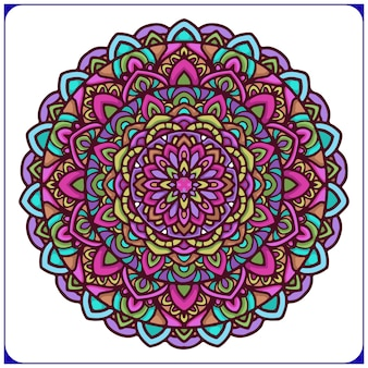 サークル花をモチーフにしたカラフルなエスニックマンダラアート