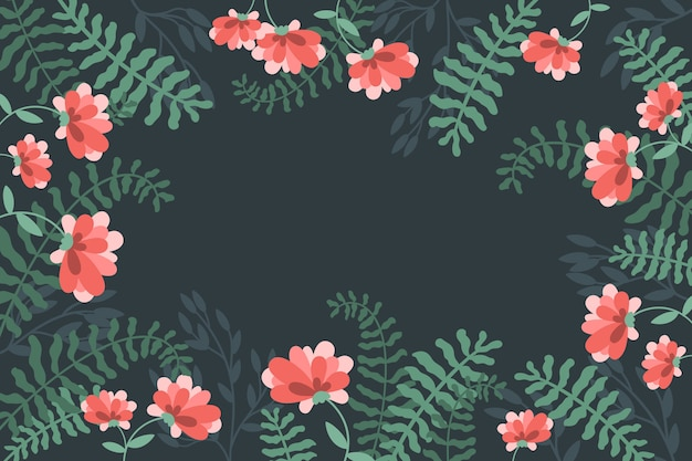 Colourful exotic floral background with copy space
