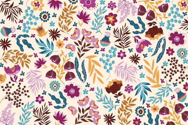 Colourful exotic floral background