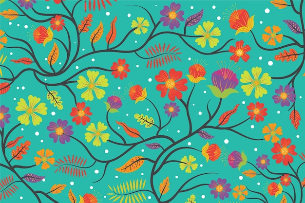 Colourful exotic floral blue background