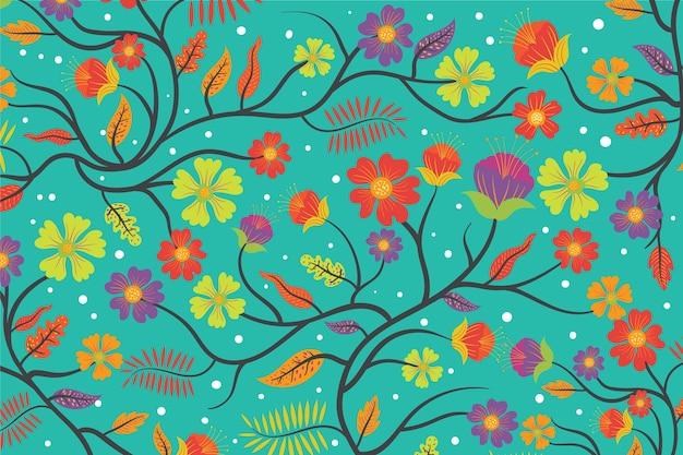カラフルなエキゾチックな花の青い背景
