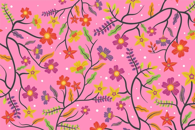 Colourful exotic floral pink background