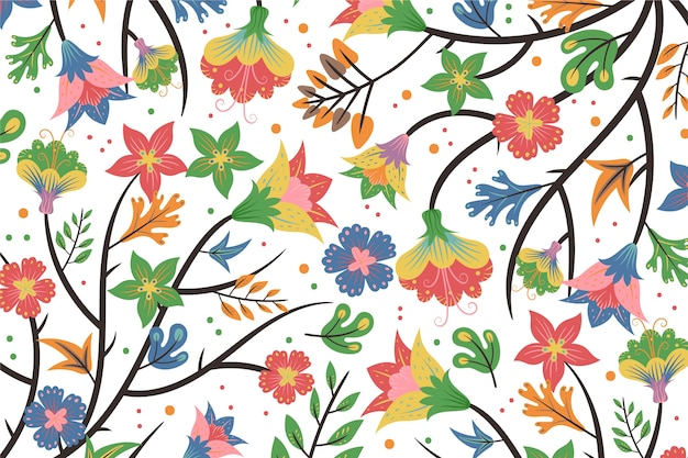 Colourful exotic floral white background
