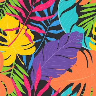 カラフルなエキゾチックな花と葉のパターン