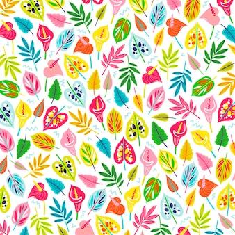 Красочные экзотические цветы и листья узор
