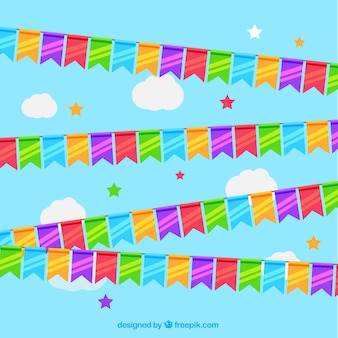 Colourful fair garlands