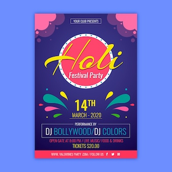 Colourful festival poster for holi event