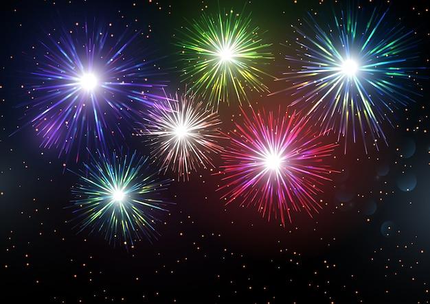 Colourful fireworks display background