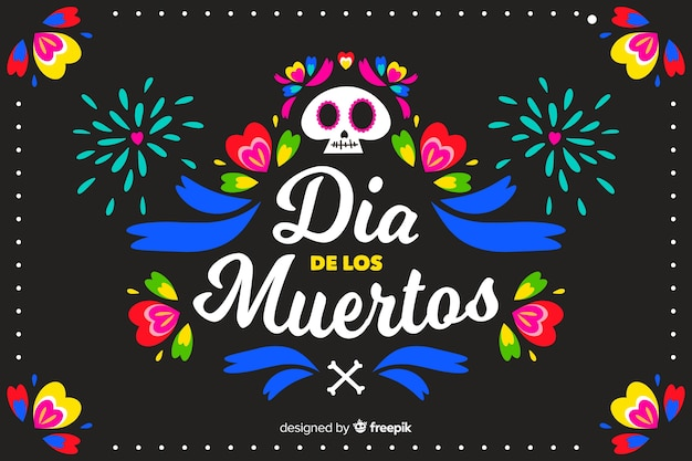 Colourful and fireworks flat día de muertos background