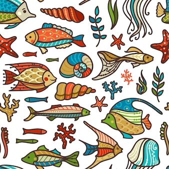 Colourful fish, sea plants and algae, shells and starfish on white background