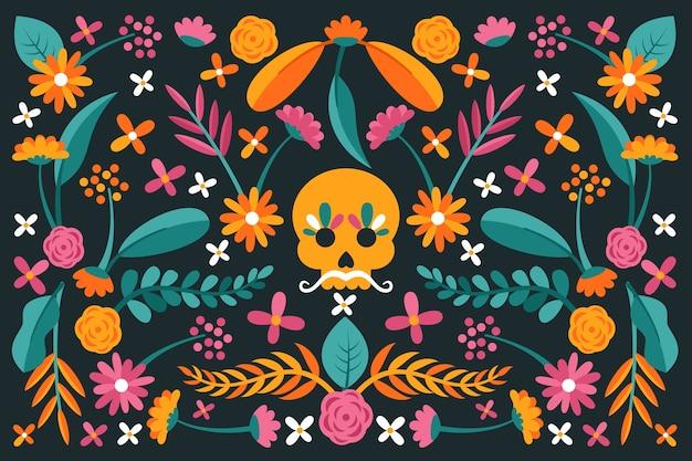 다채로운 평면 디자인 멕시코 배경 및 두개골