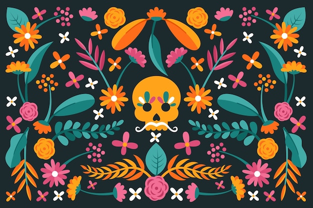 Colourful flat design mexican background and skull