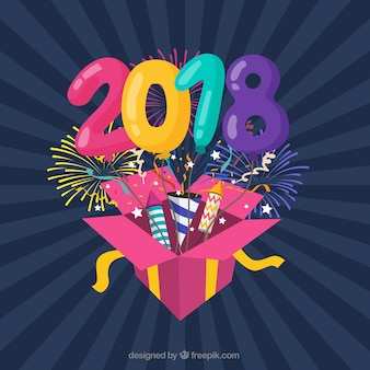 Colourful flat new year background with a gift box