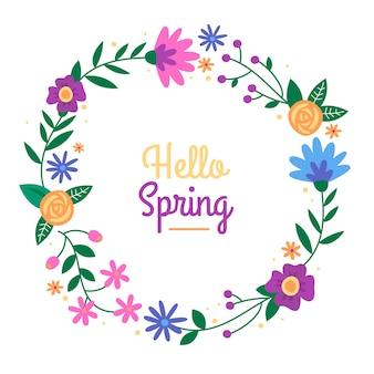 Colourful flat spring floral frame