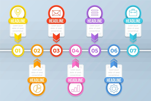 Colourful flat timeline infographic