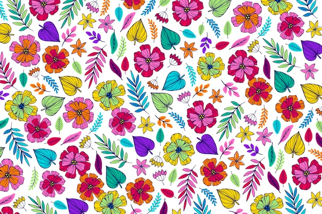 Colourful floral background with leaves