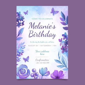Colourful floral birthday card template