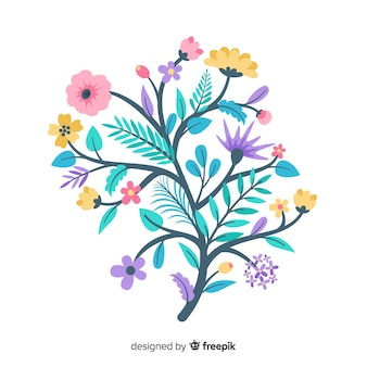 Colourful floral branch illustrated
