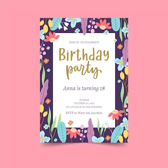 Colourful floral frame birthday invitation template