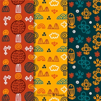 Colourful floral hand drawn pattern collection