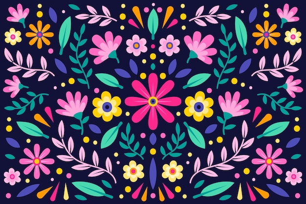 Colourful floral mexican background