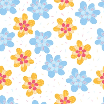 Colourful floral seamless pattern summer background of blue and yellow flowers